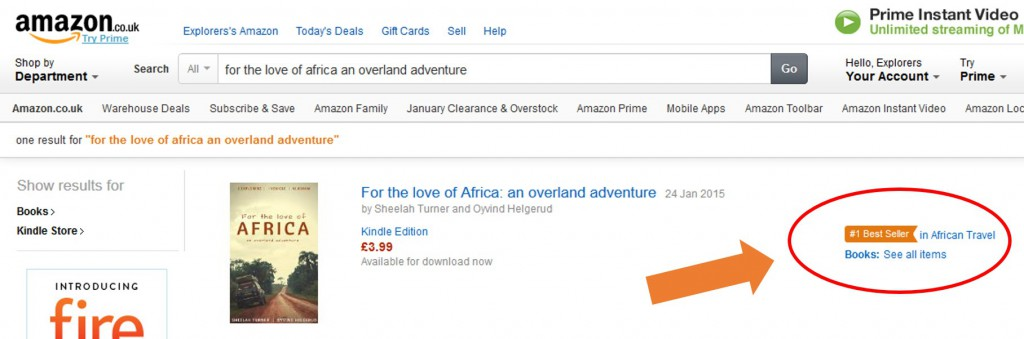 "How exciting! During the first week of publication our ebook – For the love of Africa, an overland adventure – was the number 1 Best Seller in African Travel on Amazon UK. We are bouncing, you can no doubt imagine. In addition, some of our followers and readers have been dropping us emails and … <p><a href=""http://www.kapp2cape-blog.net/2015/02/our-bestseller-awaits-you/"">Continue reading »</a></p>"